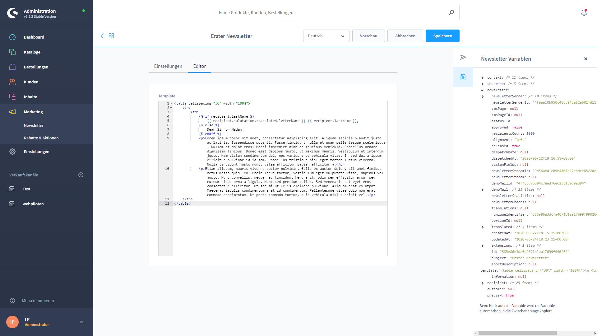 shopware-6-backend-newsletter-html-editor